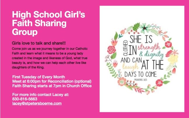 Girls Faith Sharing Flyer 2